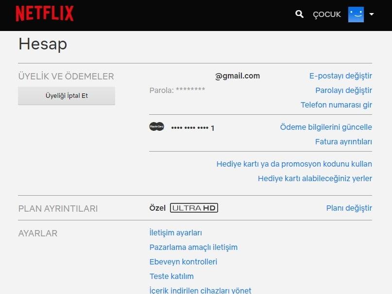 Netflix üyelik iptali